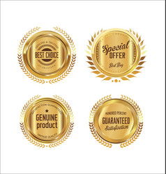 golden badge and laurel wreath collection 4 vector image