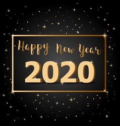 golden happy new year 2020 with dark background vector image