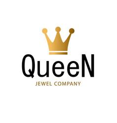 golden sign crown queen design modern logos king vector image