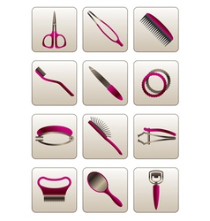 Hair and skin beauty care cosmetic accessories vector