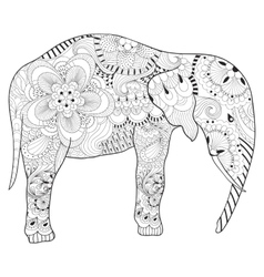 Hand drawn zentangle Elephant with mandala for vector