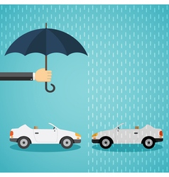Hand with an umbrella that protects the car vector