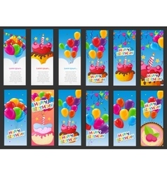 Happy Birthday Card Template with Balloons Cake vector image