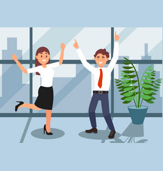 happy office workers celebrating achievement of vector image