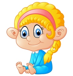 happy sitting girl cartoon vector image