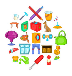 housewifery icons set cartoon style vector image