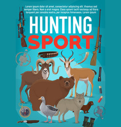 Hunting sport equipment and wild animals vector
