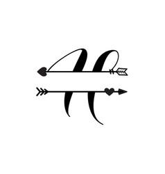 Initial h love monogram split letter isolated vector