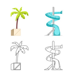 Isolated object of pool and swimming icon set of vector