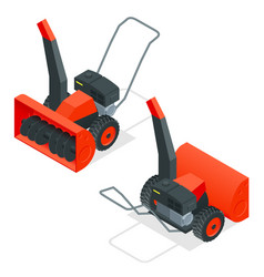 Isometric snow thrower cleans snow from sidewalks vector