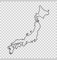 Japan map in line style on isolated background vector