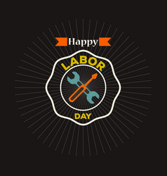 labor day logo label vector image