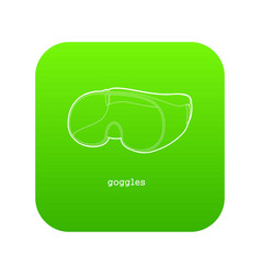 Laboratory goggles icon green vector