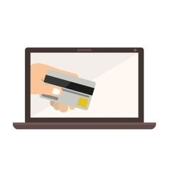 Laptop with display with credit card in hand vector