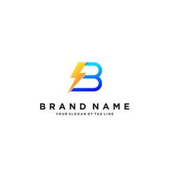 Letter b flash electrical logo design vector