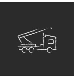 Machine with a crane icon drawn in chalk vector