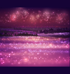 magic winter snow background with night stars and vector image