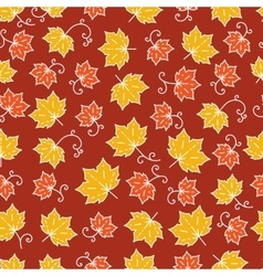 Maple leaf pattern line art Background with maple vector image