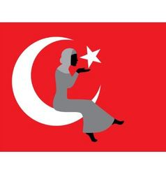 Muslim woman with a Turkish flag vector image