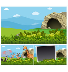 Nature scenes with wild animals by the cave vector