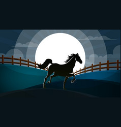 night landscape hourse vector image