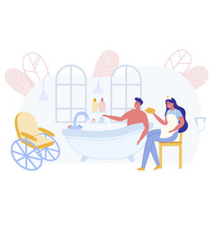 nurse assisstant helping disabled man taking bath vector image