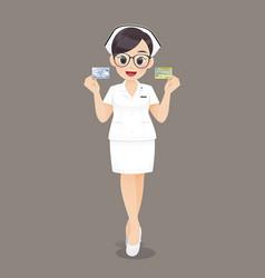 nurse holding id card vector image