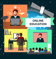 online education concept with internet conference vector image