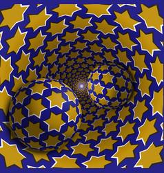 optical balls are moving in starry hole vector image