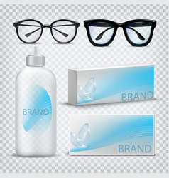 optical glasses and contact lenses set vector image