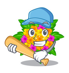 Playing baseball lantana flowers in the mascot vector