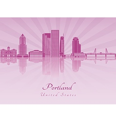 Portland V2 skyline in purple radiant orchid vector