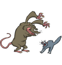 rat scares the cat vector image vector image