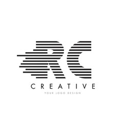 rc r c zebra letter logo design with black and vector image