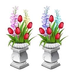 Red tulips and other flowers in stone vase vector