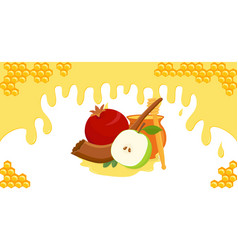 Rosh hashanah banner with jewish holiday symbols vector