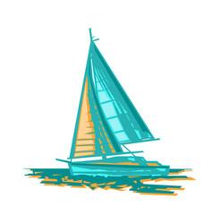 sailboat stylized vector image