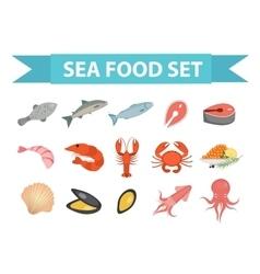 Seafood icons set flat style Sea food vector