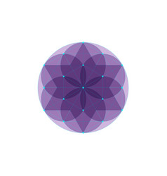 Seed life symbol sacred geometry purple logo vector