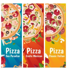 set banners for theme pizza with different vector image