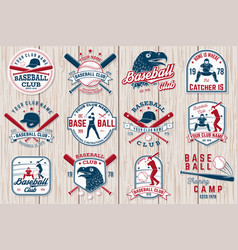 Set baseball or softball club badge vector