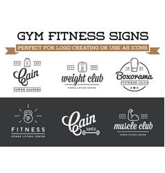 Set fitness aerobics gym elements and logotype vector