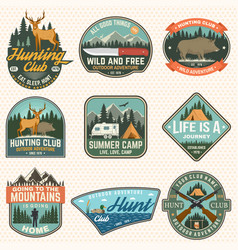 set hunting club and hiking club badge vector image