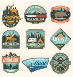 Set hunting club and hiking club badge vector