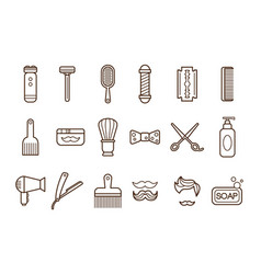 Set of barber shop elements electric vector
