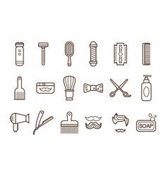 set of barber shop elements electric vector image