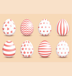set of realistic easter decorated eggs on coral vector image