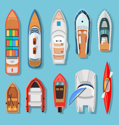 Ships and boats top view vector