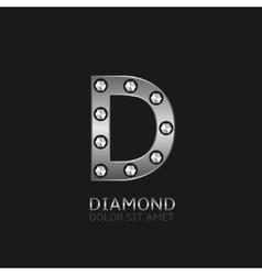 Silver D letter vector image