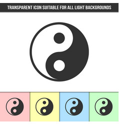Simple outline transparent yin yang icon on vector